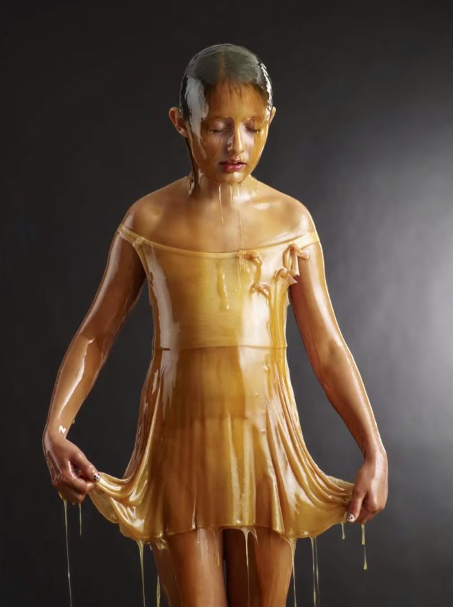 shes covered in honey all over and the resulting photos