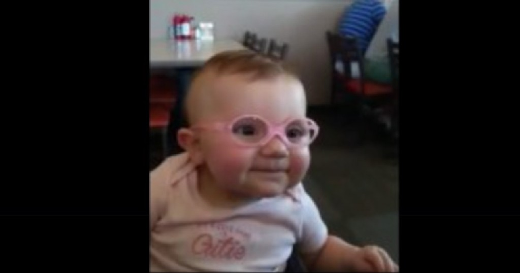 Baby gets glasses and sees mom and dad clearly for first time her